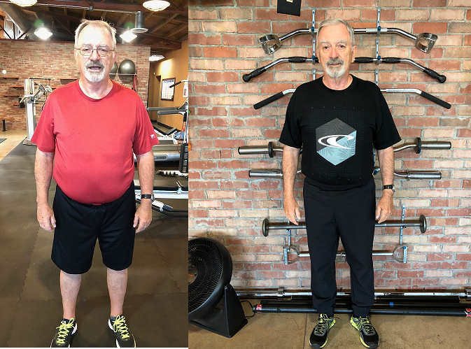 Personal Trainer in Phoenix. Jerry lost over 34 pounds in 12 Weeks Personal training Senior Fitness/Fat loss program. Before and after. Physiques Fitness by Elvira Phoenix 85016